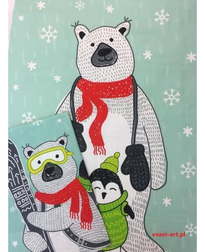 Panel kocykowy 75 x 100 + poduszkowy 50 x 50  Zimowy miś pingwin  na mięcie