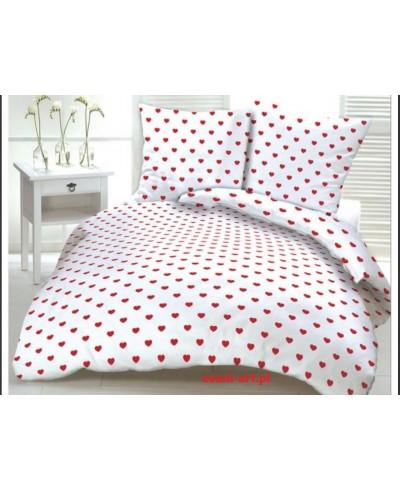 Tkanina bawełniana 160 cm Serca czerwone na białym ( 3 cm)