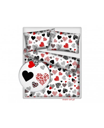 Tkanina bawełniana 160 cm Czerwone serca I LOVE Y0U  na białym