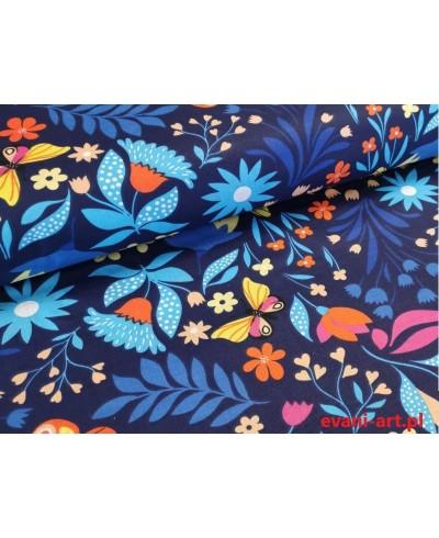 Tkanina bawełniana 160 cm Motyle Folk Kwiaty Na Granacie 0111