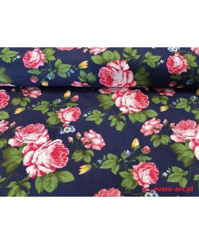 Tkanina bawełniana 160 cm Czerwone róże na granacie 1112