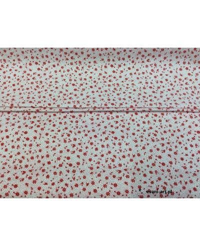 Tkanina bawełniana łączka czerwona na białym 160 cm