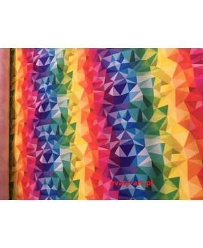 Tkanina wodoodporna  160 cm Trójkąciki kolorowe -0029