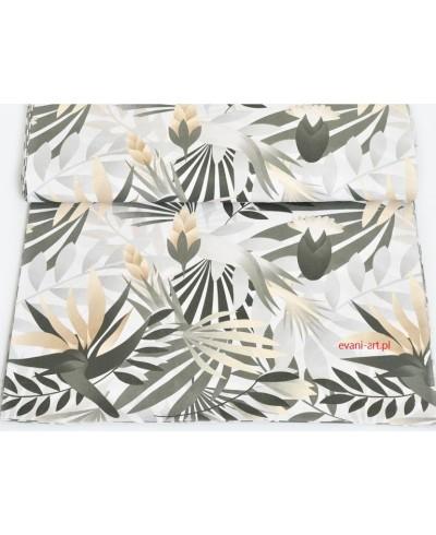 Tkanina bawełniana 160 cm Liście Palmy Beżowe Kwiaty 06A