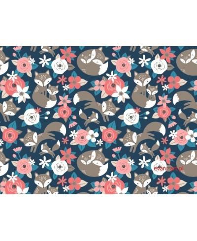 Tkanina bawełniana 160 cm Liski w Kwiatach na Granacie 038L