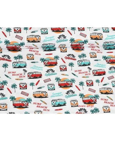 Tkanina bawełniana 160 cm Beach Sun Autobus Czerwony  Palmy Lato 70A