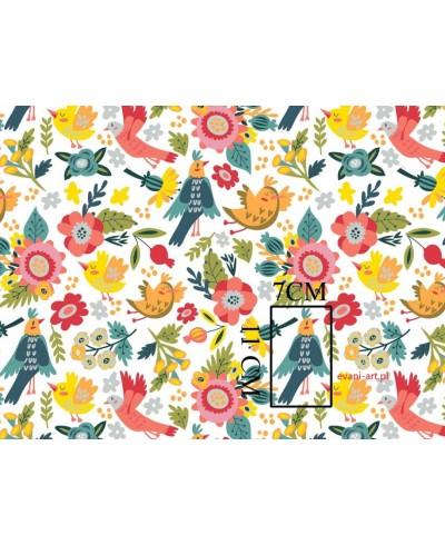 Tkanina bawełniana 160 cm Kolorowe Ptaki Kwiaty na białym 042P
