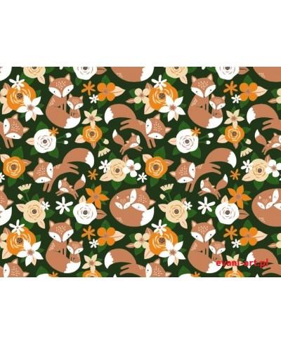 Liski w Kwiatach na zielonym tle 053L