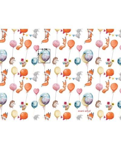 Liski i jeżyki w balonach na białym 054B