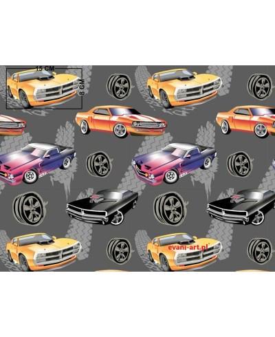 Cadilac Auta Samochody Wozy Sportowe  na szarym Bawełna 059C