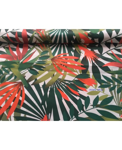 Bawełna Egzotyczne Liście Eukaliptusa Kwiat Pomarańczowy 061E