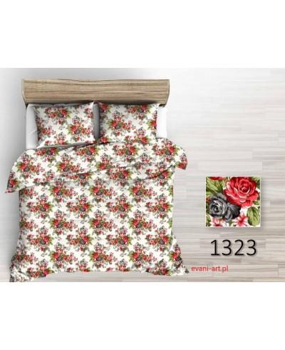 Tkanina bawełniana 220 Bukiety róż Róże cygańskie  czerwono-czarne na białym 1323