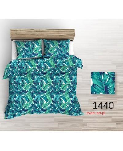 Bawełna Liście Palmy Szmaragdowo-Zielone na Białym 1440