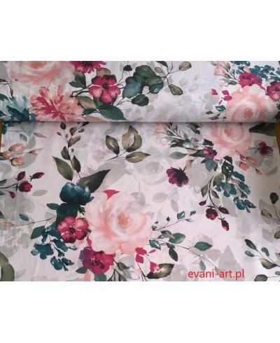 Bawełna Kwiaty Amarand Róż Fiolet na bialym 093