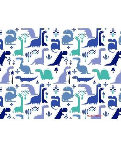 Bawełna Dinozaury Dinusie  Niebieskie na białym 096