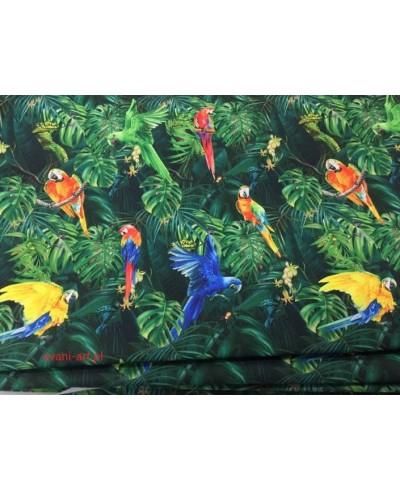 Tkanina poliester wodoodporny kolorowe papugi zielone liście