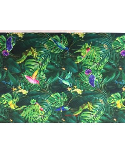 Tkanina poliester wodoodporny kolibry zielone liście
