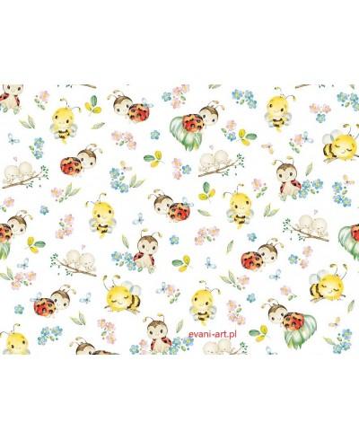 Bawełna Biedronki Pszczółki Kwiatki 0207