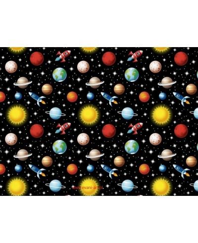 Bawełna Planeta Ziemia Słońce Kosmos Rakieta Na Czarnym  0214