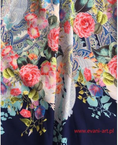 KUPON 140 X 90 Tkanina Sukienkowa Wzory z Granatowym Wykończeniem Dołu