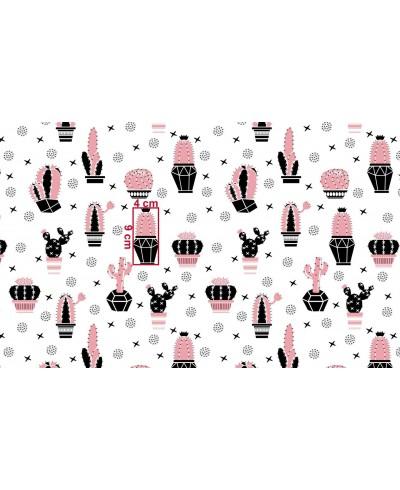 Bawełna 160 cm wzór kaktusy różowe na białym