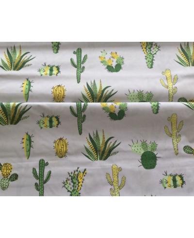 Bawełna 160 cm wzór kaktusy na szarym