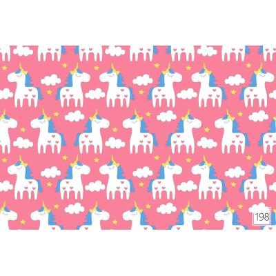 Bawełna Białe jednorożce  na różowym tle 039J