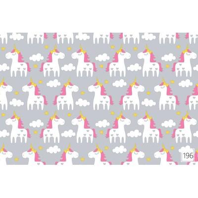 Bawełna Białe jednorożce gwiazdki na szarym 053J