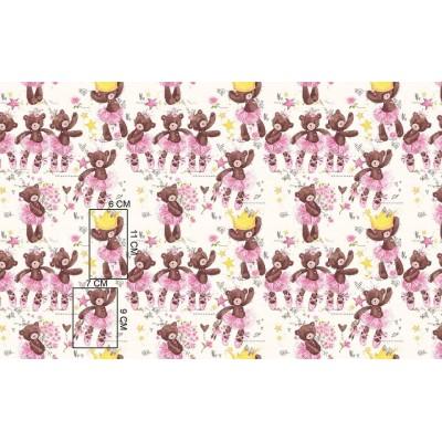 Bawełna Misie tancerki różowe spódniczki na białym