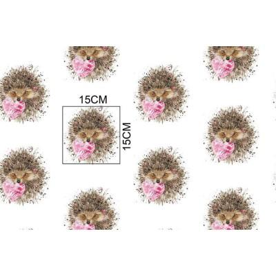 Bawełna Jeżyki różowe serduszko 069WJ