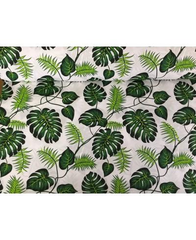 Bawełna 160 cm wzór liście palmy na białym
