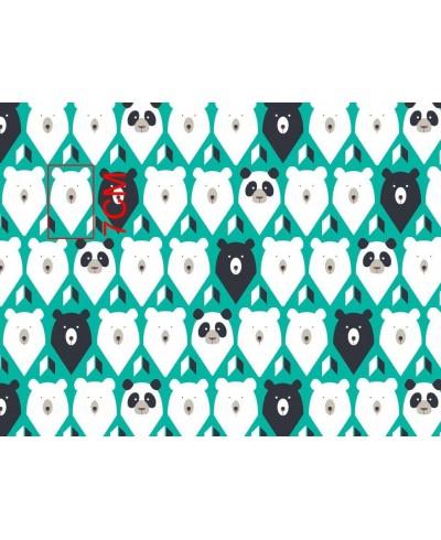 Bawełna 160 cm wzór miśki w turkusie