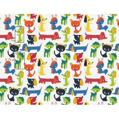 Bawełna Kolorowe zwierzaki pieski,sarenki kotki  w groszkach na tle  ecru