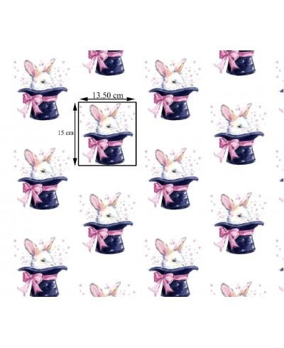 Bawełna 160 cm wzór królik w kapeluszu
