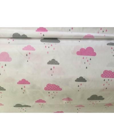 Bawełna 160 cm wzór chmurki różowe