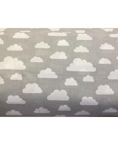 Bawełna 160 cm wzór chmurki białe na szarym