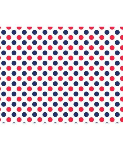 Bawełna 160 cm wzór grochy 3 cm-granatowo-czerwone