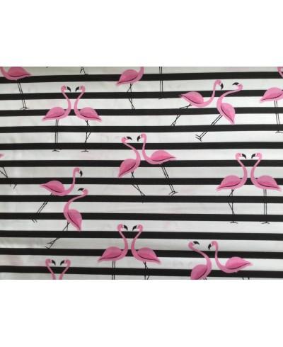 Bawełna 160 cm wzór Flamingi i pasy czarne
