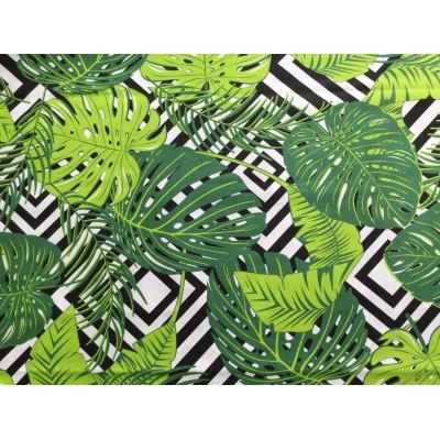 Tkanina bawełniana  B78-160 cm wzór zielone liście na czarnych kwadratach