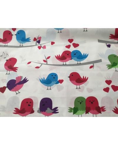 Bawełna 160 cm wzór ptaki czerwone