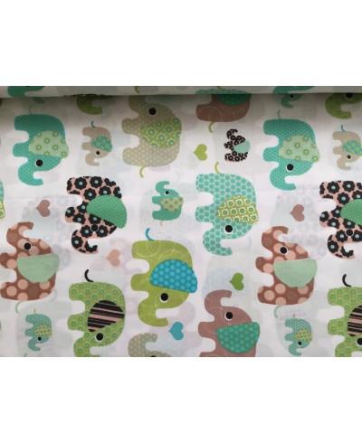 Bawełna 160 cm wzór słoń zielony