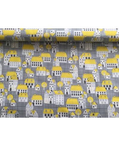 Bawełna 160 cm wzór domki żółte