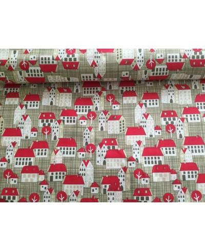 Bawełna 160 cm wzór domki czerwone