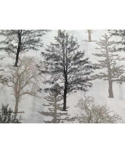 Bawełna 160 cm wzór drzewa  szare