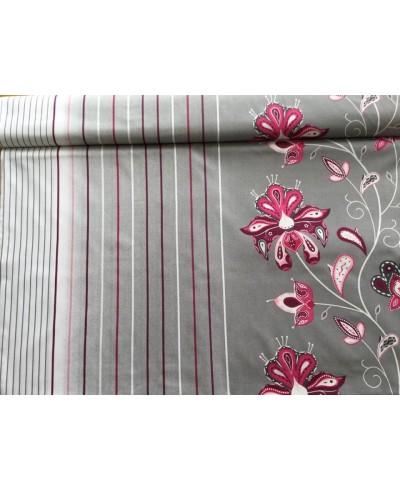 Bawełna 160 cm wzór kwiaty różowe