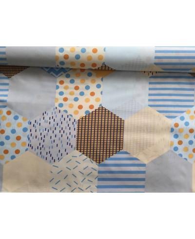 Bawełna 160 cm wzór sześciany niebieskie