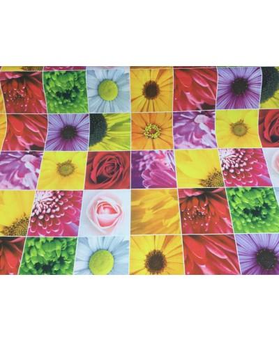 Tkanina poliestrowa-Kostki kwiatowe