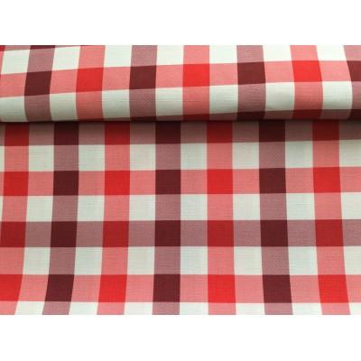 Tkanina poliestrowa 160 cm-kratka czerwona