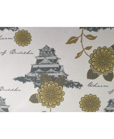 Tkanina dekoracyjna-160 cm-zamki na białym04