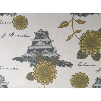 Tkanina dekoracyjna-zamki na białym szer 160 cm